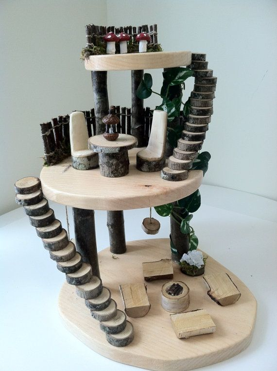 Wooden fairy tree house by LightofdayCreations on Etsy