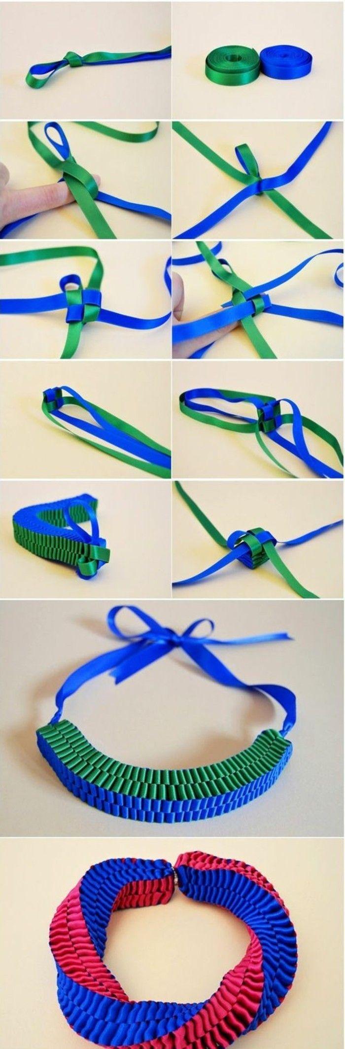 comment fabriquer des bijoux à la maison, une facile idée pour collier en tissu coloré