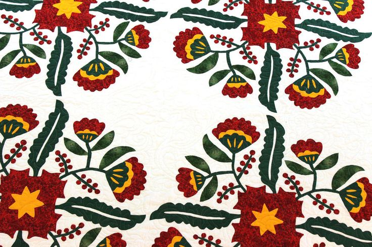 Hand AppliqueCox Combe w/ double sawtooth borders FINISHED QUILT -  Red & White #MuseumQuiltscom