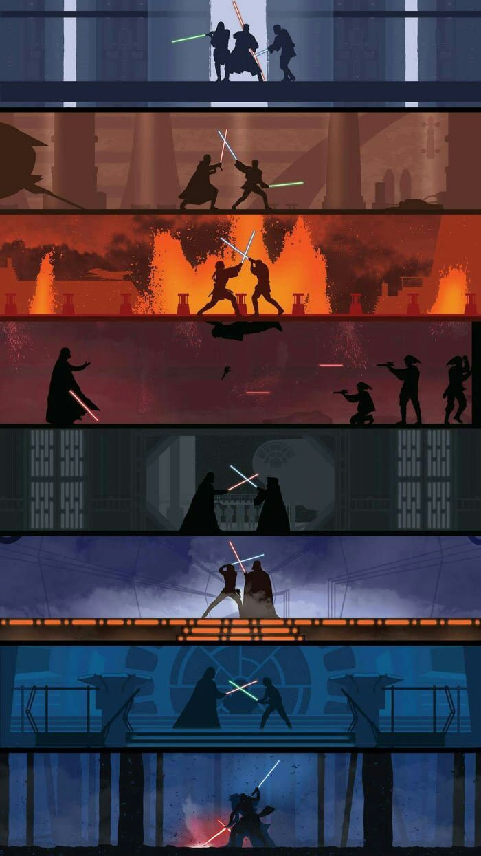 Lightsaber fights throughout the Star Wars Saga