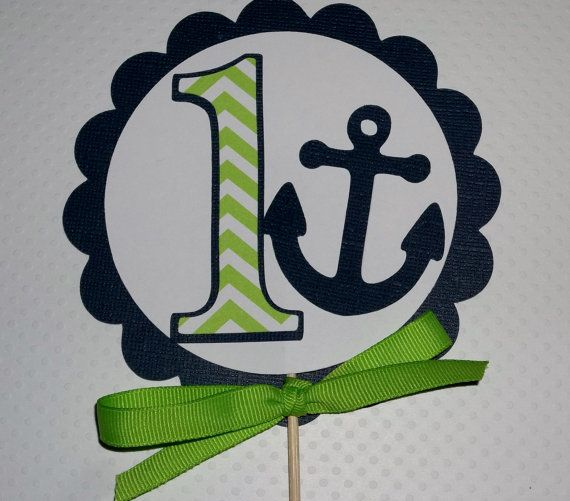Navy Blue and Lime Green Anchor Birthday cake topper, Nautical, Chevron, 1st birthday topper, cake topper, smash cake topper  nautical,