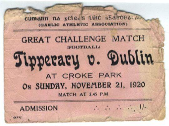 G.A.A. Ticket, Cumann na gcleas luith n Gaedhealach (G.A.A.) Great Challenge Match (Football) at Croke Park, on Sunday, November 21st, 1920, match at 2.45p.m., admission 1/-,