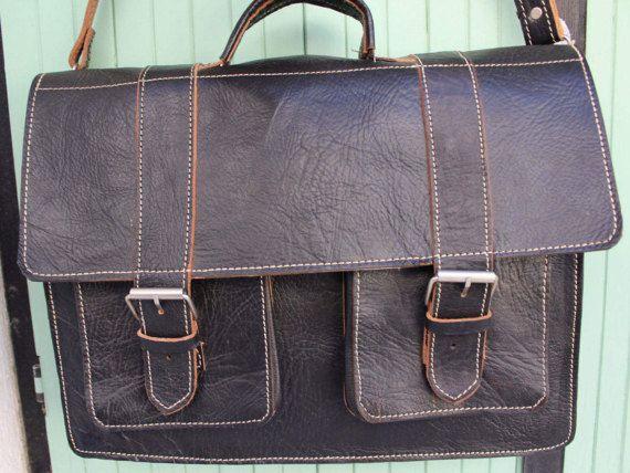 Men's Genuine Leather messenger briefcase 17'' laptop by EATHINI