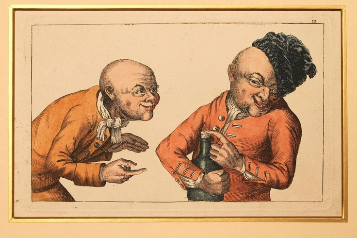 A very rare Georgian engraving, which depicts two grotesque drunkards with a bottle of booze. Engraved by Thomas Sanders after Tim Bobbin (pseudonym of John Collier), for the series Human Passions Delineated [1773]