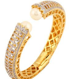 Buy HAPPINESS Collection White Pearl Shimmer Diamond Party Clutch Bracelet For Women bangles-and-bracelet online