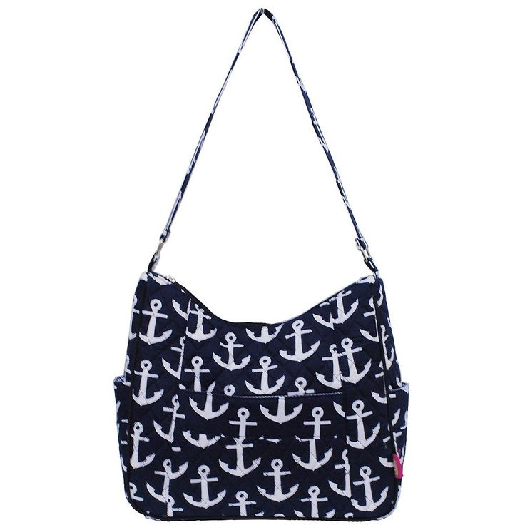 """White Anchors Print Quilted Hobo Fashion Bag. Top Zipper closure. Single Canvas Handle, Handle drop 12"""". Dimensions: 10""""(H) x 13""""(L) x 3½(W). Front pocket with velcro closure. Zipper pocket inside."""