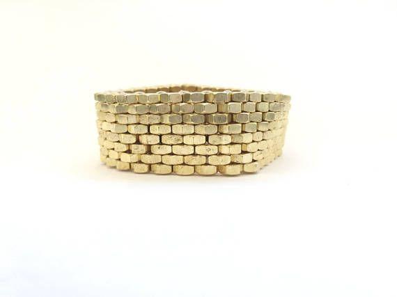 Peyote stitch jewelry Brass hex nuts Industrial gold jewelry Hardware statement bracelet Bronze hex nut bracelet Modern gift HEXNUTSMADE