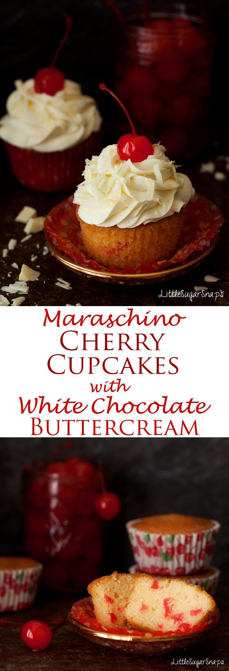 Maraschino Cherry Cupcakes with White Chocolate Buttercream are exceptionally smart but easy to make. Appealing to all ages and perfect for any occasion worth celebrating.