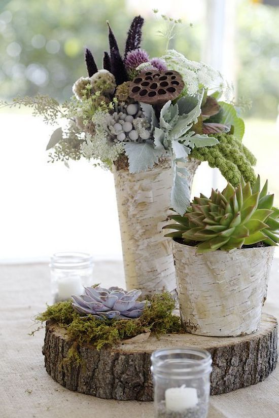 Scabiosa pods, Dusty Miller, Lamb's ear, succulents, birch bark vases, moss and tree slice / http://www.himisspuff.com/rustic-wedding-centerpiece-ideas/18/