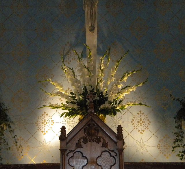 Church Altar Arrangements Wedding Flowers Gladiolas: Altar Arrangement: White Gladiola #RoseOfSharon