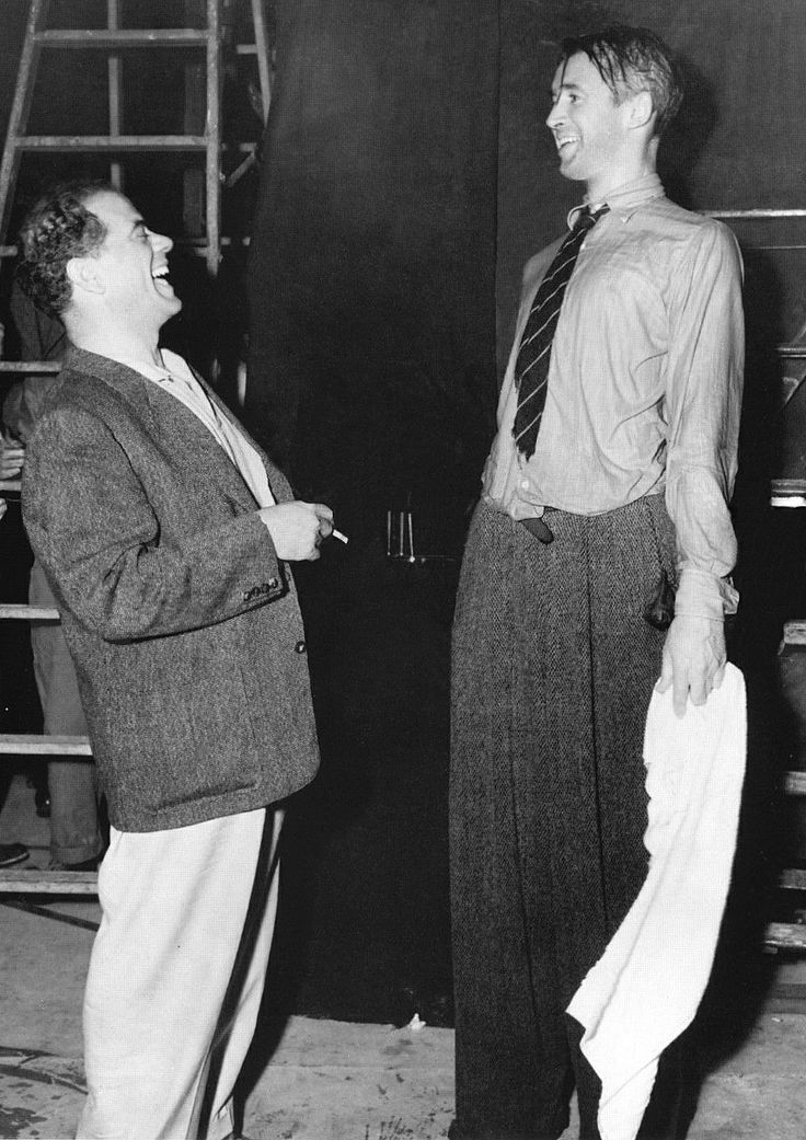 """Frank Capra and Jimmy Stewart on the set of """"It's a Wonderful Life"""" (1946)"""