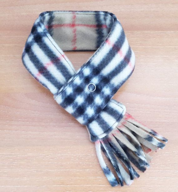 Dog Scarf Plaid Fleece Cat Scarf Pet Neckwear Puppy by PinkBau
