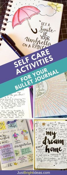 Examples of Self Care Activities: Life is super stressful and if you use a Bullet Journal to keep on top of things you'll love these examples of self care activities you can do right there in your BuJo to improve your wellbeing.