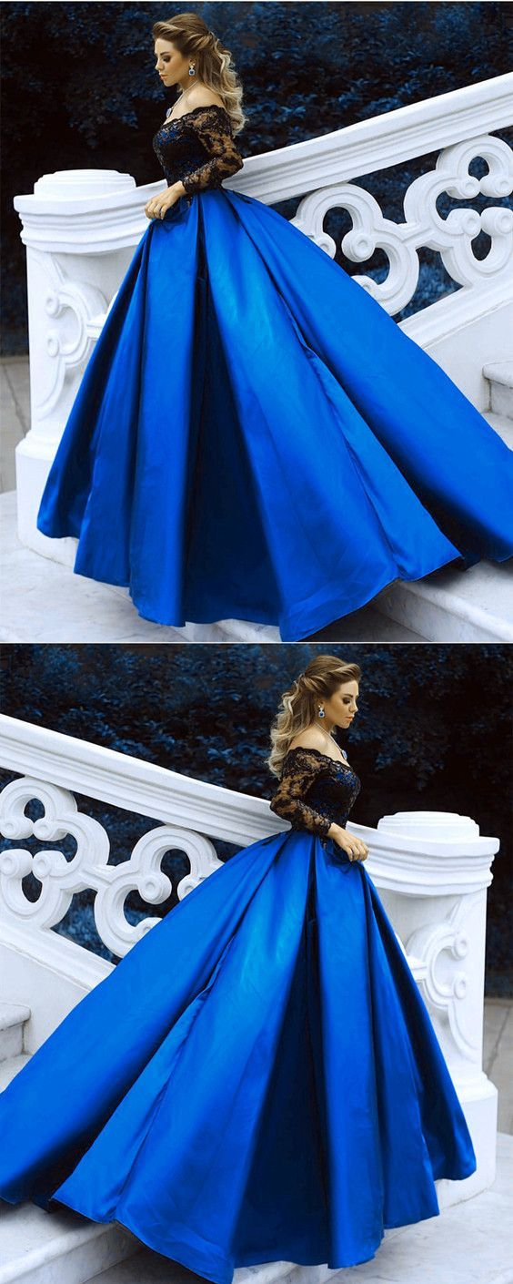 Black Lace Long Sleeves Prom Dresses Ball Gowns Off The Shoulder Evening Dresses 2018 #EveningDresses