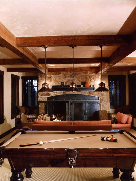 Beams, Stone, Pool Table Lights