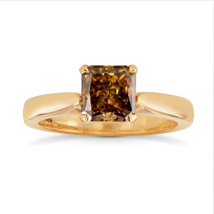 SHOP Fancy Deep Brown Orange Radiant Diamond Solitaire Ring