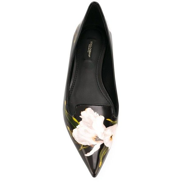 Dolce & Gabbana floral ballerinas ($745) ❤ liked on Polyvore featuring shoes, flats, floral ballet flats, pointed toe flats, black flats, leather ballet flats and ballet shoes