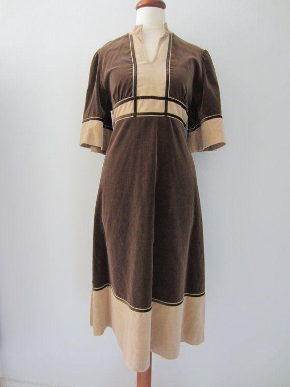 60s/70s Brown Velvet Empire Waist Dress, S-M // Vintage Fairy Tale Day Dress