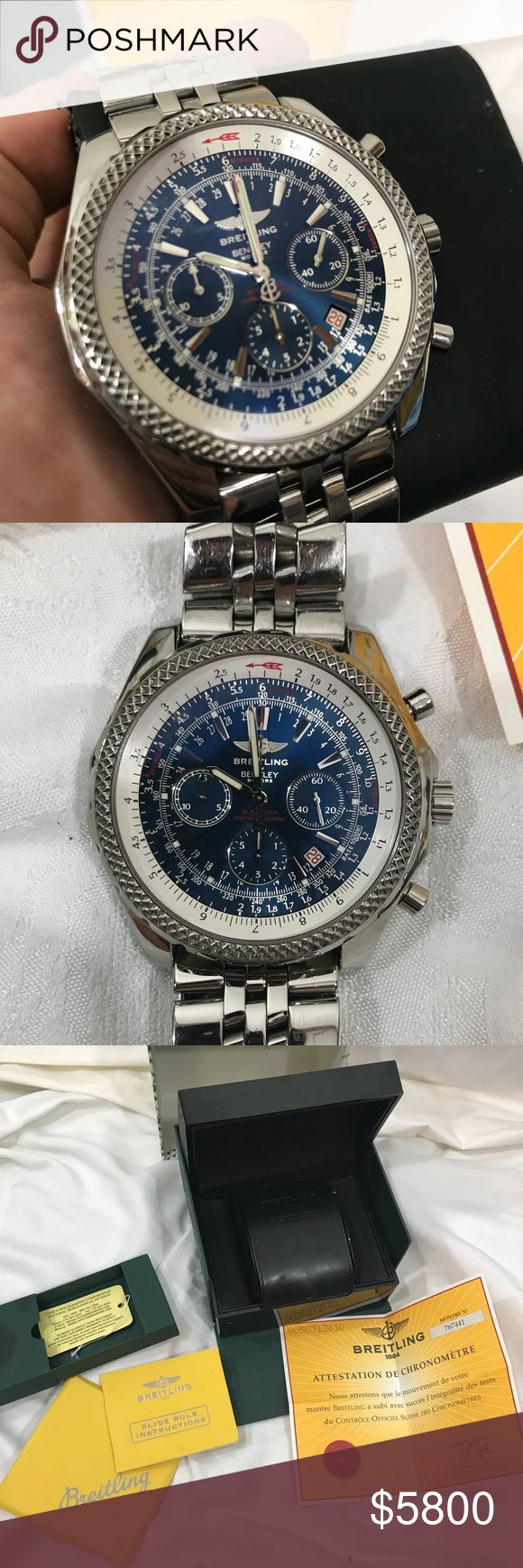 Breitling Bentley Watch- Rare Neptune Blue Excellent condition 100% Authentic with papers and box . Rare blue dial! Breitling Accessories Watches
