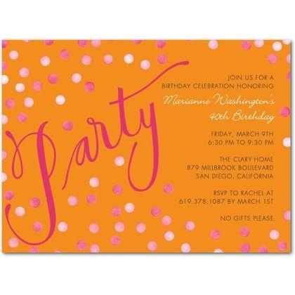 Confetti Shimmer - Adult Birthday Party Invitations - Petite Alma - Pumpkin - Orange : Front