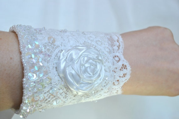 Bridal Sequinned Lace Cuff Bracelet  'The by jogeorgedesigns, £39.99