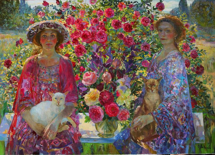 Russian painter Olga Suvorova. Gorgeous, rich color and those roses glow!