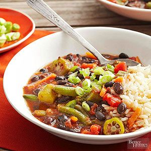Vegetarian Gumbo From Better Homes and Gardens, sounds delicious with cauliflower rice for a lower-carb option.