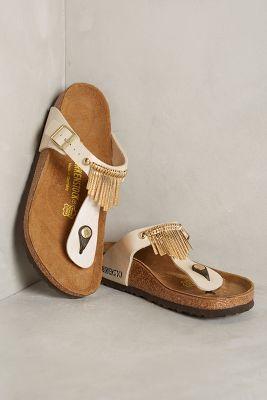 Birkenstock Gizeh Fringe Sandals Gold 41 Euro Sandals