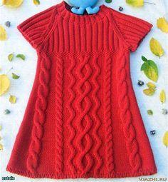 Схема вязания спицами. Туника для девочки