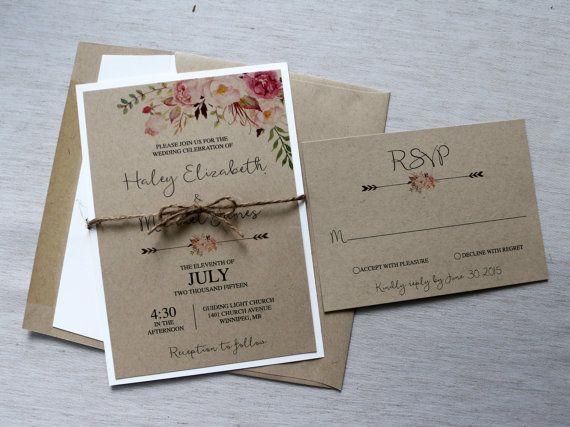 Boho Wedding Invitation, Rustic Wedding Invitiation, Watercolor Floral, Bohemian Floral Style, Floral, Rustic, Kraft, watercolour