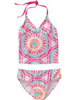 Girls Printed Cross-Front Tankinis (Old Navy)
