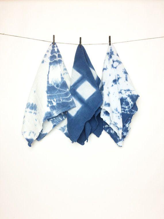 Beach Kitchen Decor  Blue Tea Towel  Shibori Linens  Dish