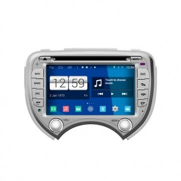Autoradio GPS DVD NISSAN March S160 Android 4.4.4 avec HD Ecran tactile Support Smartphone Bluetooth kit main libre Microphone RDS CD SD USB 3G Wifi TV MirrorLink
