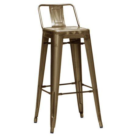 Steel stool with an industrial-style silhouette, bronze finish, and tapered legs.  Product: Set of 2 barstoolsConstr...