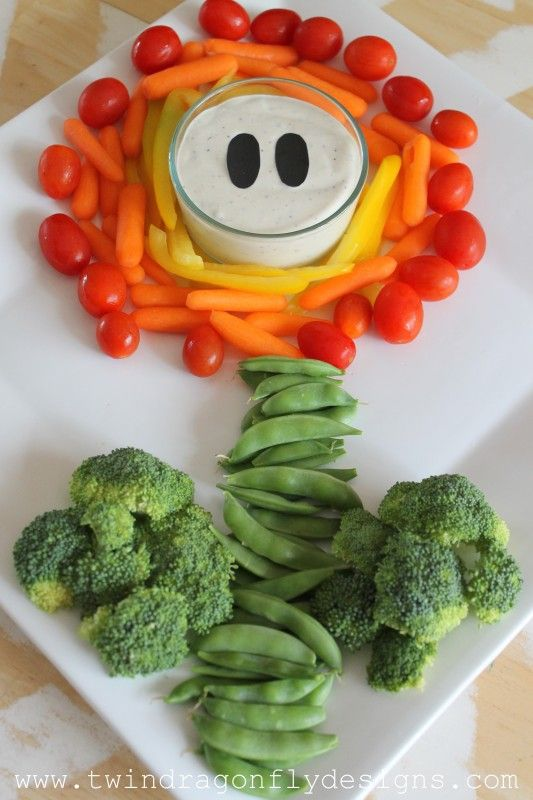 Super Mario Party Vegetable Tray - too cute!                                                                                                                                                                                 More