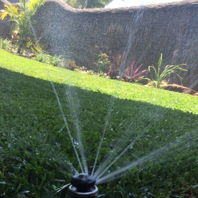 This is how we water our lawn... With a swipe of our finger on our smart phone.... How do you water yours?? . . The MP Rotator pop up sprinklers not only look great but have great coverage - notice how each of the streams do a different part of the arc some long throw and others short! Talk to us about automating your home garden irrigation today! #irrigation #popup #hunter #mprotator #lawn #lawncare #landscaping #smarthome