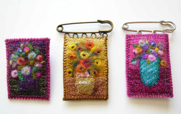 The Garden Room - Felt/Tweed Flower Vase Brooches by Sally Roydhouse