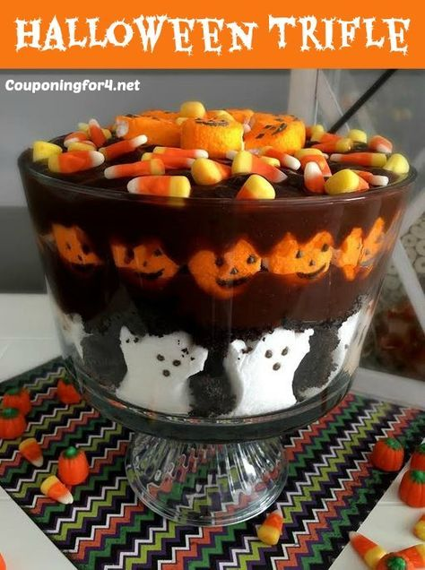 Halloween Trifle - Spooky And Delicious - Make this Halloween Trifle dessert for your Halloween party! it is spooky, delicious and incredibly easy to make - by the kids or adults!