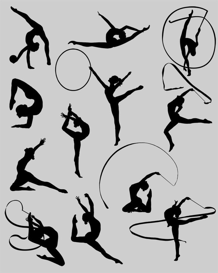 Rhythmic gymnastics. Silhouette Clipart. by DigitalReflection