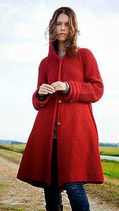 Bellísimo saco con capucha tejido en dos agujas | Crochet y dos agujas