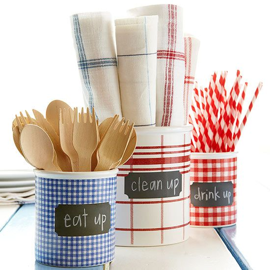 """Fun way to set out utensils and napkins for a patriotic picnic buffet. Use any container, like empty oatmeal tubes or coffee cans, wrapped in festive paper secured with tape. I love the adhesive chalkboard labels! Fill with flatware (plastic, wooden or """"real"""") and rolled up cloth napkins or red, white and blue bandanas."""