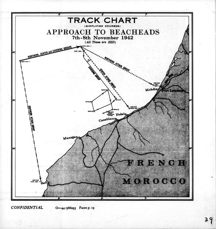 Track of Beach Approaches for the Western Naval Task Force during Operation Torch, 8 Nov 1942, prepared for the United States Navy Office of Naval Intelligence Combat Narrative report. (US Navy map)