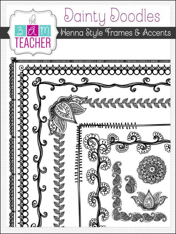 Henna Doodle Frames Borders & Accents Clipart Set by The3AMTeacher, $4.00