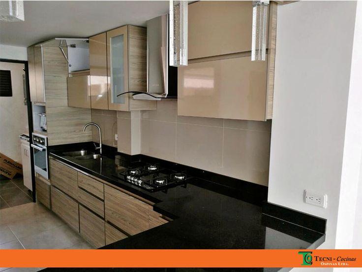 Cocina integral moderna en formica con cantos bicolor   #cocina #mobiliario #formica #meson