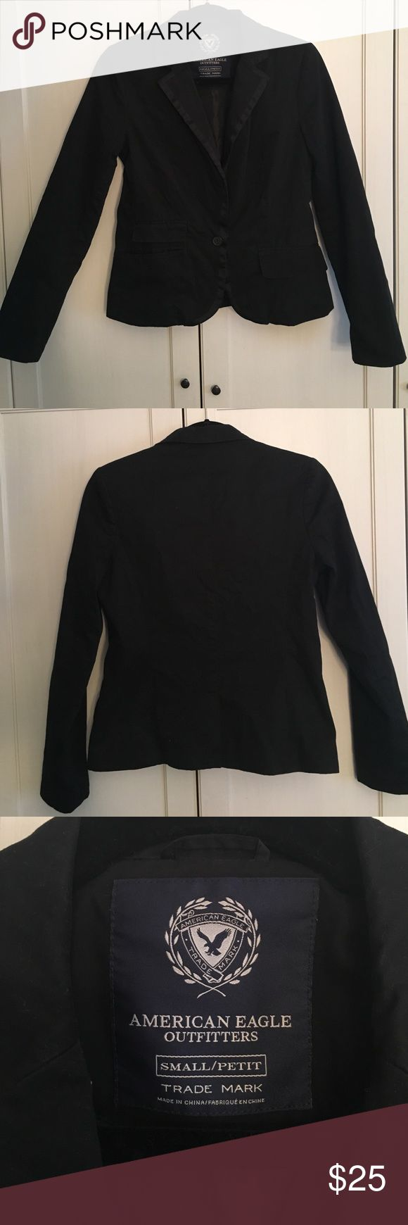 AE Outfitters Black Petite Women's Blazer One button blazer. Lightly worn, in good condition American Eagle Outfitters Jackets & Coats Blazers