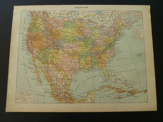 1905 two old maps of the United States of America - antique print / smapp poster USA - Alte Karte von Vereinigte Staaten - 23x31cm/9x12''