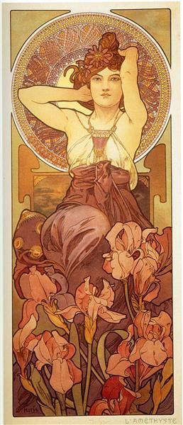 Amethyst by Alphonse Mucha. Art Nouveau (Modern). allegorical painting ✖️More Pins Like This One At FOSTERGINGER @ Pinterest✖️