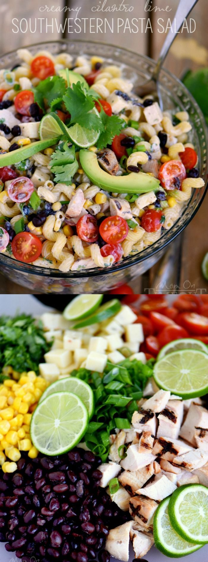 This Creamy Cilantro Lime Southwestern Pasta Salad recipe from Mom on Timeout is satisfying enough for an easy dinner or a tasty addition to any party, BBQ or get together!