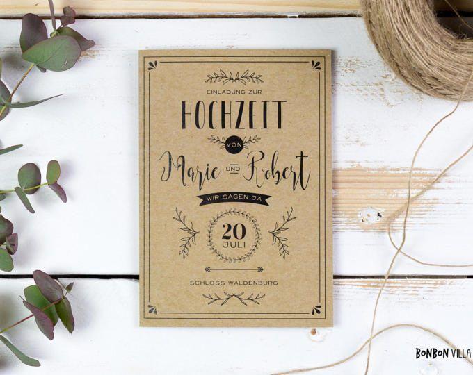 30 x bruiloft uitnodiging * kraftpapier *.