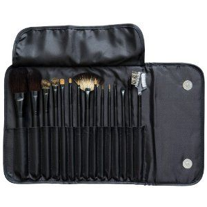 NYX Brush Set, 15 Piece, Black, 1 Ounce by NYX. $72.81. Collection encased in compact pouch. Brushes contain either natural fibers for powder products or synthetic fibers for liquid, gel and cream products. NYX?s 15 piece must-have makeup brush set. This sleek pouch holds 15 pieces of professional-grade cosmetics brushes including: a large blush brush, a medium blush brush, angled shading brush, medium shading brush, small shading brush, fan brush, angled eyebrow brush, l...